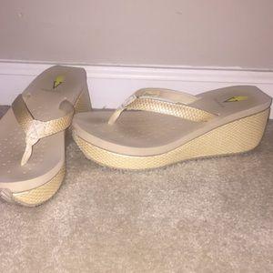 Shoes - Volatile cream flip flops